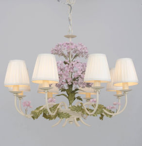 China Top Sale UL Approval Foral Decorative Fabric Shade Chandelier for Interior
