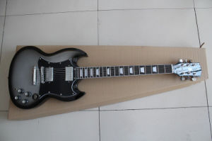 Hanhai Music/Silver Black Sg Style Electric Guitar with Rosewood Fingerboard pictures & photos