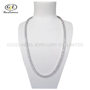 Sterling Silver Brass Ice out Diamond CZ Tennis Chain Hiphop Necklace Jewelry