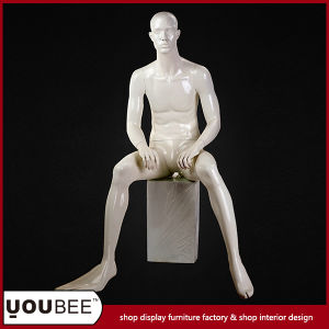 Great Realistic Sitting Male Fiberglass Mannequin with Square Base