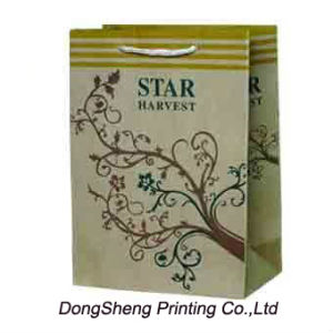 Strong Bronw Kraft Paper Gift Shopping Bag with Hot Stamp