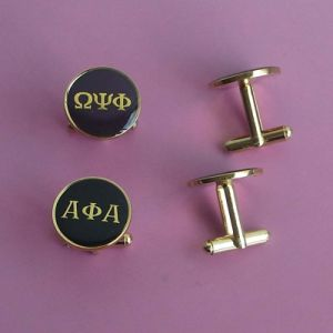 Fraternity and Sorority Promotional Gifts Metal Cufflinks with Expoy pictures & photos
