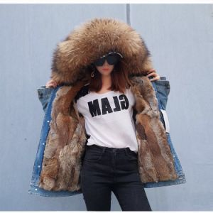 Female Raccoon Fur Collar Parka, Detachable Real Rabbit Fur Lined with Cowboy Parka Coat Jacket