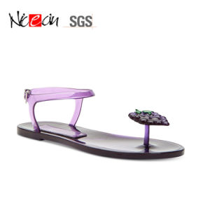Lady Jelly Slipper Shoes Clip Toe PVC Sandals for Girls