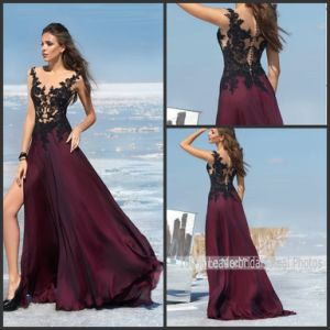 Wine Party Prom Gowns Black Lace Evening Dress Ld152921 pictures & photos