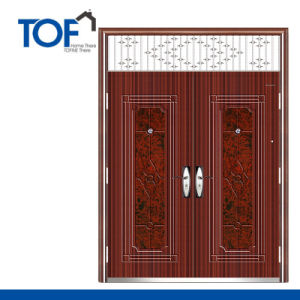 Decorated High Quality Security Steel Double Swing Door