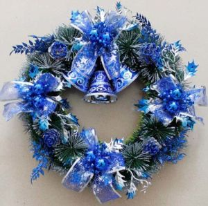 China 30cm Blue Pine Needles Accessories Garland Bell China Blue