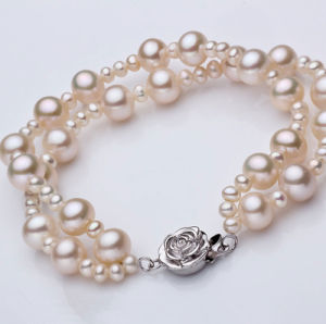 Fashion Double Strands Round Natural Pearl Bracelet Wholesale pictures & photos