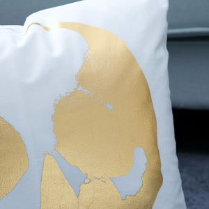 Foil/Gold&Silver Print Decorative Cushion/Pillow with Skull Pattern (MX-03) pictures & photos