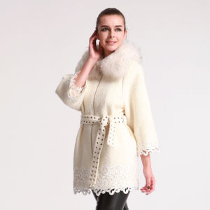 Women′s Winter Wool Coat with Removable Raccon Fur Collar