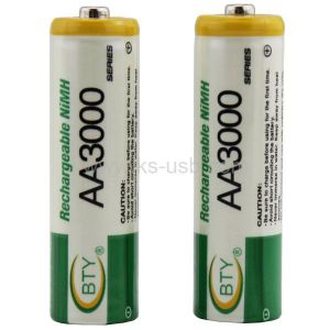 BTY AA 3000 Ni-MH 1.2V Rechargeable Battery (4 PCS in One Packing) , AA Battery