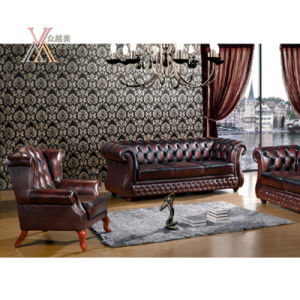Antique Style Leather Sofa Set (202)
