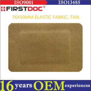High Quality OEM 76*50mm Elastic Fabric Material Tan Color Adhesive Bandages pictures & photos