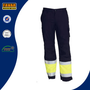 Yellow Black Cotton Drill Men′s Light Hi Vis Trousers Work Pants
