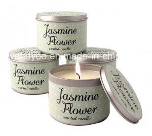 Jasmine Flower Scented Soy Wax Tin Candle