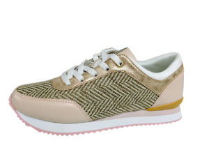 Women′s Elevator Shoes with Synthetic Leather and Linen Upper