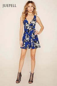 Fashion Deep-V Floral Mini Skater Dress pictures & photos