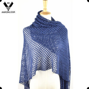 Women Soft Acrylic Warp Knitted Scarf Wrap with Long Fringes