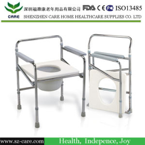 Commode Chair with Height Adjustable Leg Tubes and Castors
