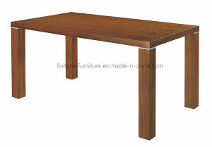Simple Wooden Walnut Color Dining Table (6018)