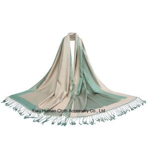 New Style Soft Acrylic Double Side Scarf with Tassel