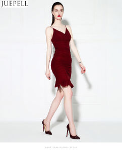 2016 New Sexy Ladies Solid Color Harness Dress Slim Tight Low-Cut Package Hip Skirt Fashion Women Dress pictures & photos