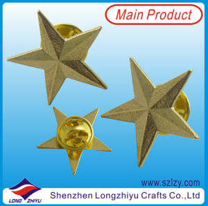 3D Star Lapel Pin Gold Start Badge with Butterflu Clutch pictures & photos