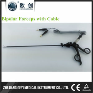 Factory Directly Laparoscopic Endoscope Insulated Curved Bipolar Forceps with Cable pictures & photos