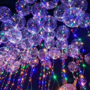 Led Colorful Light Transpa Bobo Balloon For Birthday Christmas Day Wedding Party Celebrate Diy