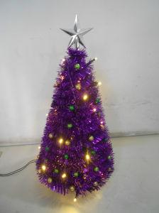 Purple Tinsel Pop Up Tree