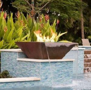 Water Features Square Corten Steel Fire