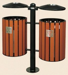 Outdoor Litter Bin with Imitation Wood Lacquer (GPX-95A) pictures & photos