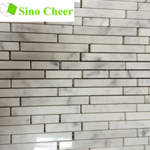 Carrara White Marble Natural Stone Random Strip Mosaic pictures & photos