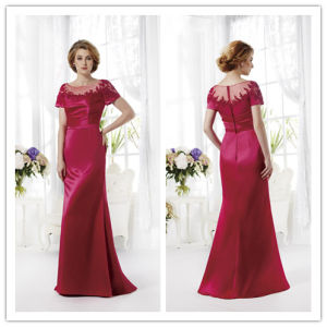 Sheath/Column Jewel/Scoop Floor Length Tiered Appliques Satin Mother of The Bride Dress