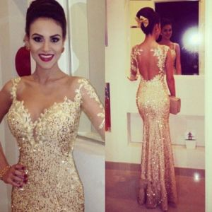 Evening Dress Sequined Lace Tulle Mermaid Prom Party Dress T201