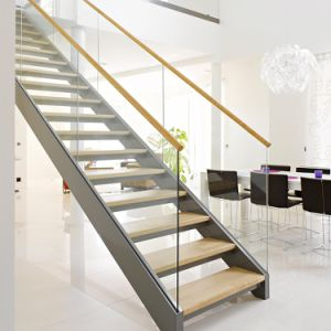 Glass Straight Staircase with Laminated Tempered Glass Tread/Oak Tread pictures & photos