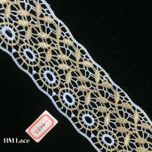 7cm Golden White French Chantilly Trim, Alencon Lace Trim Hme824 pictures & photos