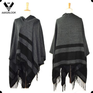 Fashion Big Size Stripe Blanket Shawl with Fringes
