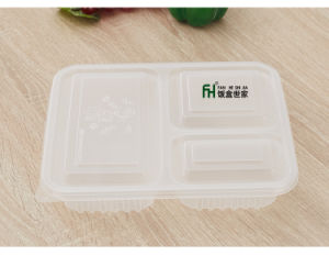 3compartment Disposable Food Container with Lid (900ml) pictures & photos