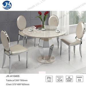 China Modern Fashion Customized Marble Dining Table Furniture With Stainless Steel Frame
