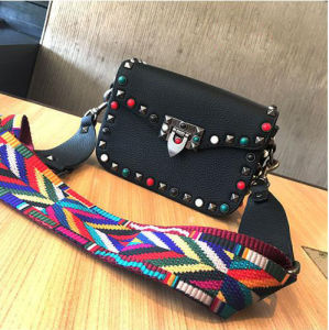 2017 New Colorful Studded Women Bag Wide Strap Crossbody Bag Hcy-5029