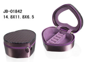 Heart Shape Fashion PU Leather Zipper Jewelry Box