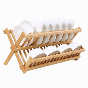 China Hot Sale Wooden Collapsible Dish Drying Rack Kitchen Plate