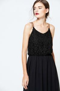 long black applique dress