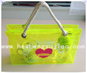 Colorful Nylon PVC Hand Bag Shopping Bag with Pure Cotton Handle (YJ-E018) pictures & photos