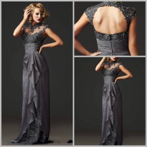 2017 Gray Mother Formal Gown Backless Lace Evening Dress Ya0101608 pictures & photos