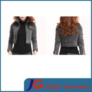 Beaded Decoration Collor and Pocket Black Women Demin Jacket (JC4066) pictures & photos
