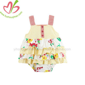 Floral Printed Ruffle Baby Dress Romper