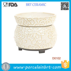 Cream Floral Wax Candle Warmer Electric Oil Burner pictures & photos