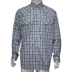 Men′s Casual Shirt with Two Pockets and Snaps HD0016